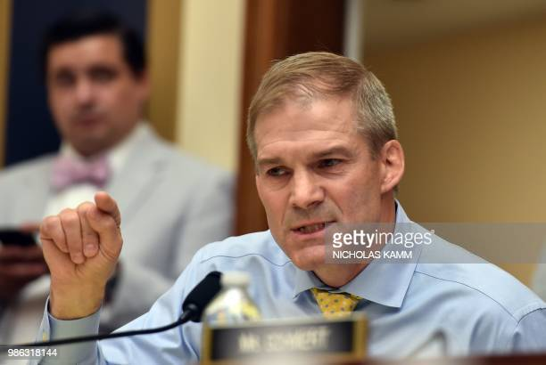 Republican US Representative for Ohio Jim Jordan asks a question during a congressional House Judiciary Committee hearing on Oversight of FBI and DOJ...