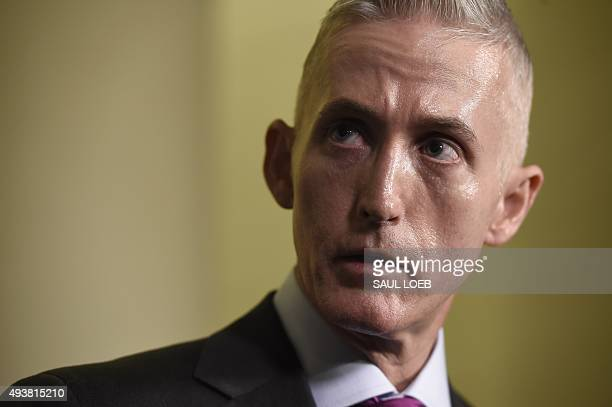 Republican US Representative from South Carolina Trey Gowdy speaks to the press after Former Secretary of State and Democratic Presidential hopeful...