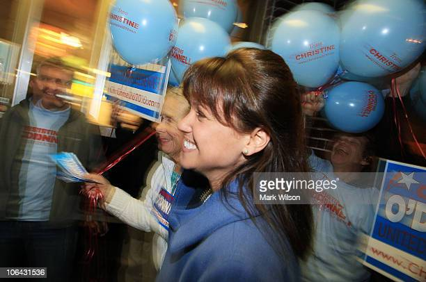 Republican US Senate candidate Christine O'Donnell makes a campaign stop at the First State Bowling Center on November 1 2010 in Wilmington Delaware...