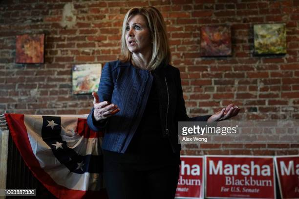 Republican US Senate candidate for Tennessee Rep Marsha Blackburn speaks to supporters during a campaign stop November 5 2018 in Maryville Tennessee...