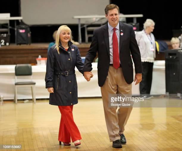 Republican US Senate candidate Geoff Diehl and his wife KathyJo Boss leave Whitman Town Hall in Whitman MA after casting their votes on Election Day...