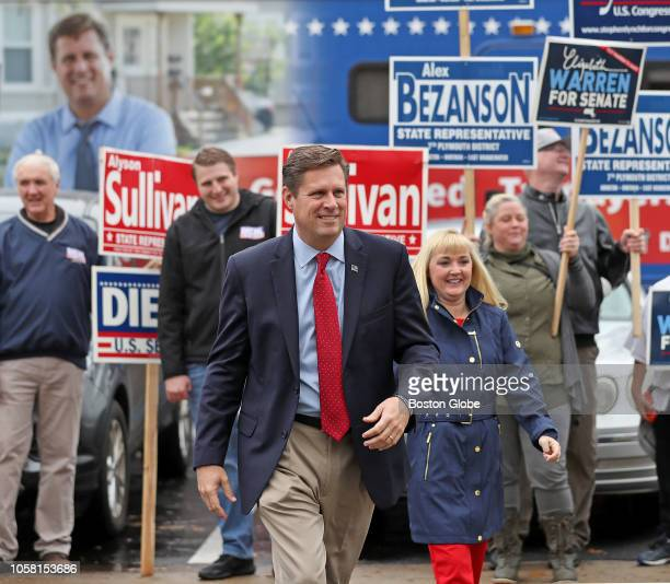 Republican US Senate candidate Geoff Diehl and his wife KathyJo Boss walk to Whitman Town Hall in Whitman MA to vote on Election Day Nov 6 2018