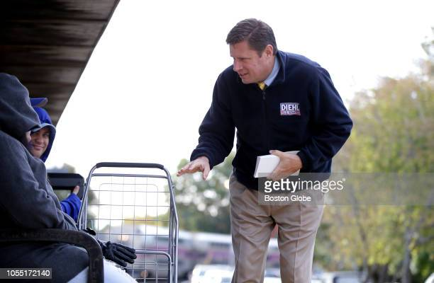 Republican US Senate Candidate Geoff Diehl campaigns at the Stoughton MBTA station in Stoughton MA on Oct 25 2018