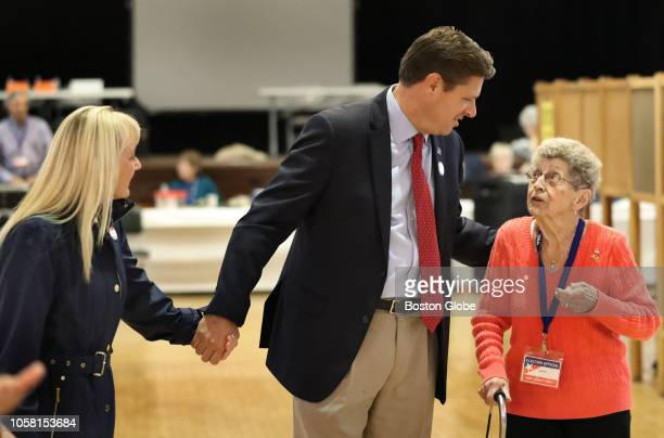 Republican US Senate candidate Geoff Diehl center and his wife KathyJo Boss left talk with Alice Riddell in her 30th year as register chairwoman in...