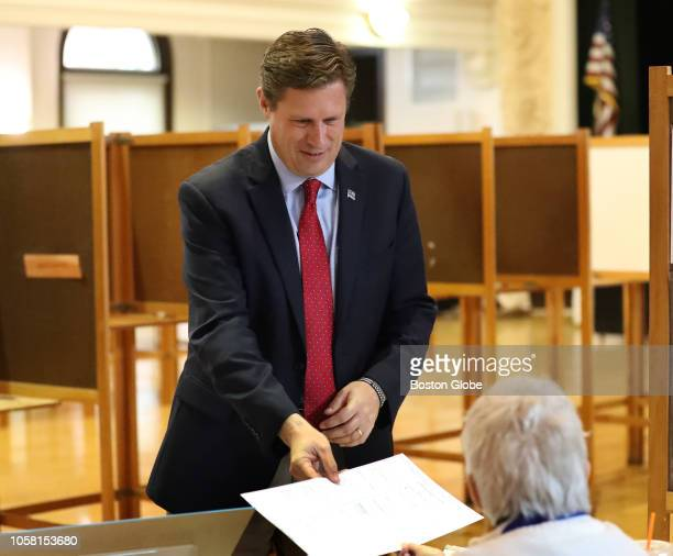 Republican US Senate candidate Geoff Diehl gets his ballot at Whitman Town Hall in Whitman MA on Election Day Nov 6 2018