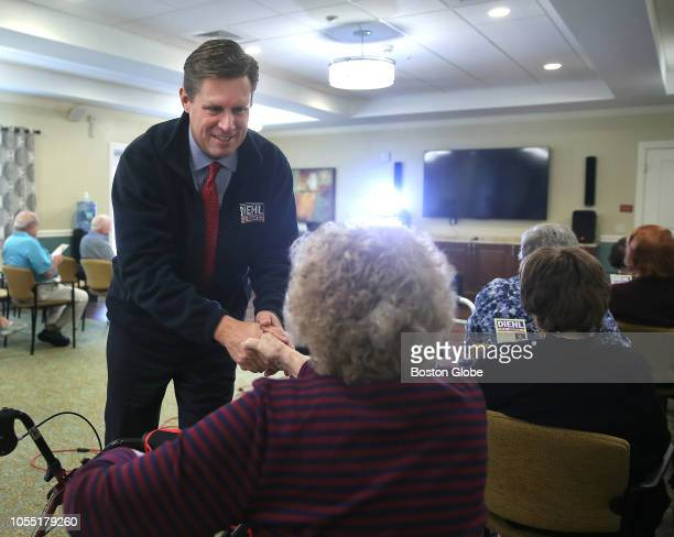 Republican US Senate candidate Geoff Diehl greets residents at BrightView Senior Living in Canton MA before speaking on Oct 24 2018