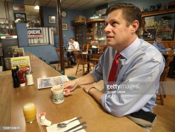 Republican US Senate Candidate Geoff Diehl has breakfast at Martin's Restaurant in Abington MA on Election Day Nov 6 2018