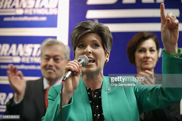 Republican US Senate candidate Joni Ernst addresses supporters with Gov Terry Brandstad and Lt Gov Kim Reynolds at the Johnson County GOP Victory...