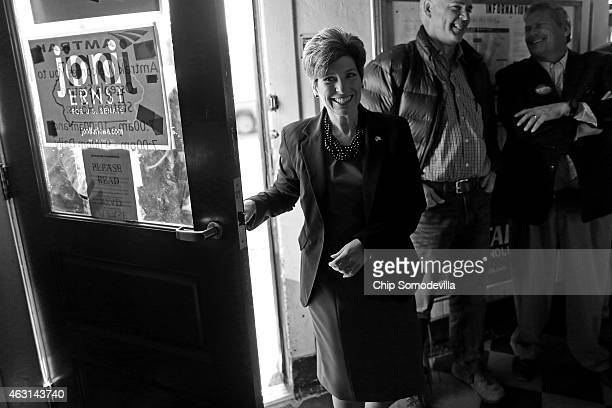 Republican US Senate candidate Joni Ernst arrives at a campaign stop in the Amtrak Osceola Train Depot November 2 2014 in Osceola Iowa A Des Moines...