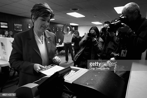 Republican U.S. Senate candidate Joni Ernst casts her ballot on election day at the polling place in her hometown fire department November 4, 2014 in...