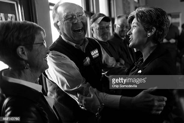Republican U.S. Senate candidate Joni Ernst greets supporters during a campaign stop at the Amtrak Osceola Train Depot November 2, 2014 in Osceola,...