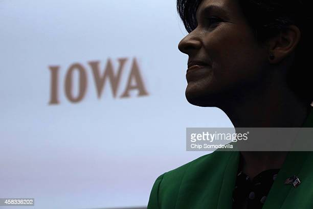 Republican U.S. Senate candidate Joni Ernst rallies supporters at the Newton Manufacturing Company during her 'One More Thing' 24-hour campaign push...