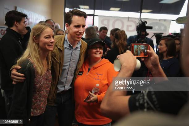 Republican US Senate candidate Josh Hawley and his wife Erin greet supporters during a campaign stop at the Jefferson County GOP office to rally...
