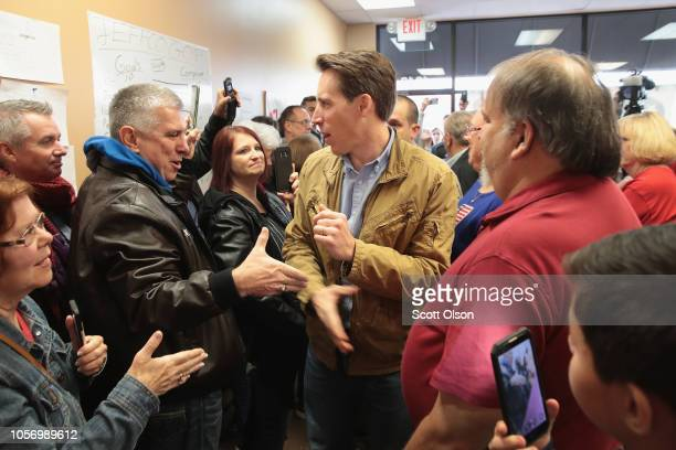 Republican US Senate candidate Josh Hawley greets supporters during a campaign stop at the Jefferson County GOP office to rally voters on November 3...