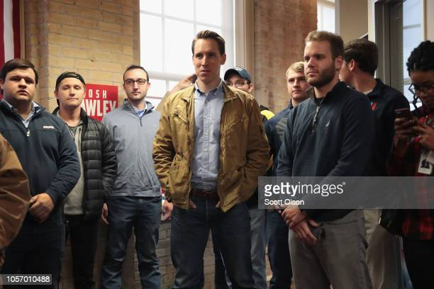 Republican US Senate candidate Josh Hawley greets supporters during a campaign stop at the Columbia GOP office on November 3 2018 in Columbia...