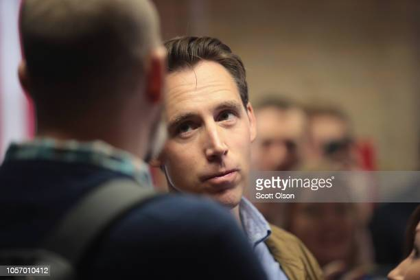 Republican US Senate candidate Josh Hawley speaks to reporters during a campaign stop at the Columbia GOP office on November 3 2018 in Columbia...