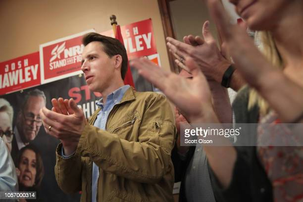 Republican US Senate candidate Josh Hawley speaks to supporters during a campaign stop at the Jefferson County GOP office on November 3 2018 in...