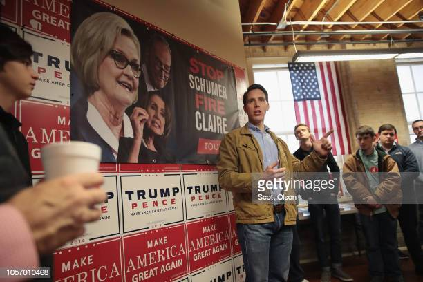 Republican US Senate candidate Josh Hawley speaks to supporters during a campaign stop at the Columbia GOP office on November 3 2018 in Columbia...