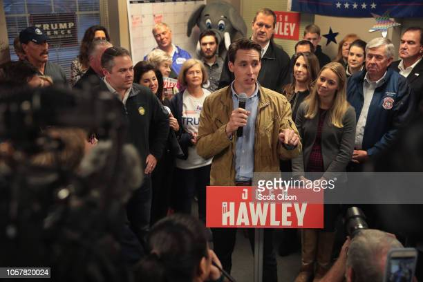 Republican US Senate candidate Josh Hawley speaks to supporters during a campaign stop at the MOGOP field Office on November 5 2018 in St Louis...