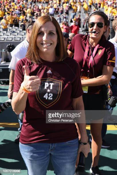 Republican US Senate candidate Martha McSally reacts after the National Anthem before the game between the Utah Utes and the Arizona State Sun...