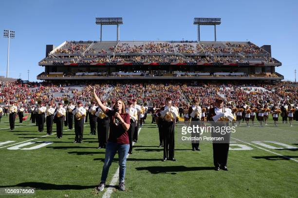 Republican US Senate candidate Martha McSally sings the National Anthem before the game between the Utah Utes and the Arizona State Sun Devilsat Sun...