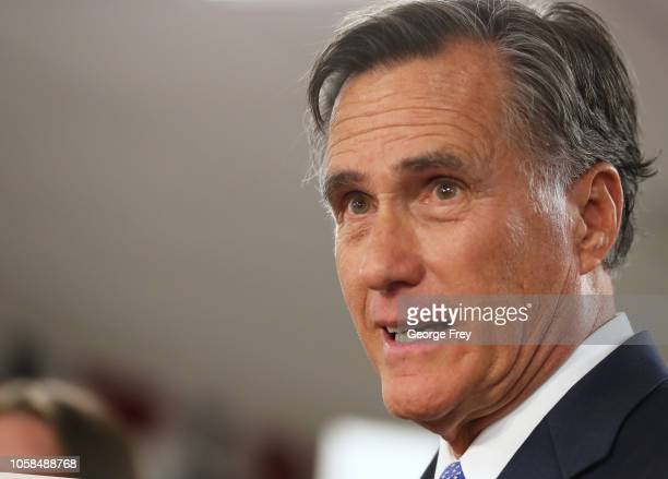 Republican US Senate candidate Mitt Romney talks to his supporters after he won the Utah Senate seat at his campaign headquarters at an election...