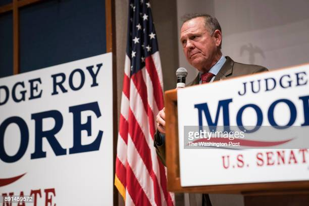 Republican US Senate candidate Roy Moore speaks after loosing during an electionnight watch party at the RSA activity center in Montgomery Ala on...