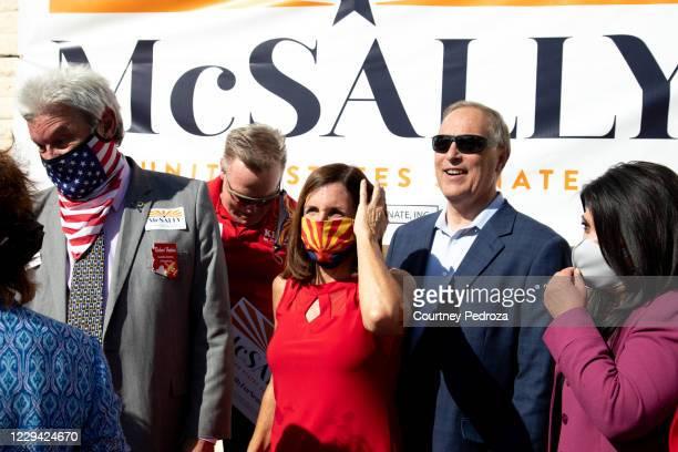 Republican U.S. Senate candidate Sen. Martha McSally prepares to take a photo at the AZGOP Headquarters on November 2, 2020 in Phoenix, Arizona. The...