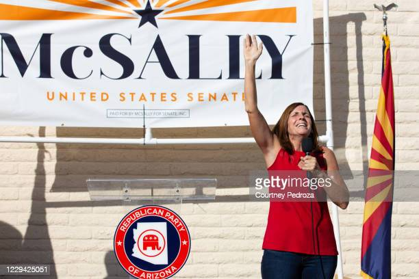 Republican U.S. Senate candidate Sen. Martha McSally sings God Bless America to supporters at the AZGOP Headquarters on November 2, 2020 in Phoenix,...