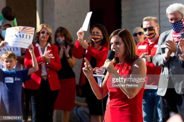 Republican U.S. Senate candidate Sen. Martha McSally speaks to supporters at the AZGOP Headquarters on November 2, 2020 in Phoenix, Arizona. The...
