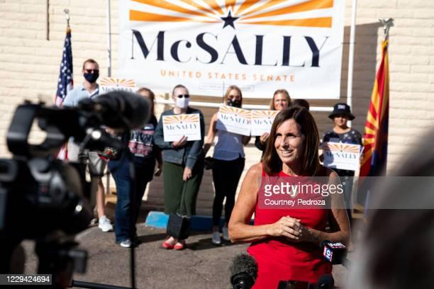Republican U.S. Senate candidate Sen. Martha McSally speaks to the press at the AZGOP Headquarters on November 2, 2020 in Phoenix, Arizona. The...