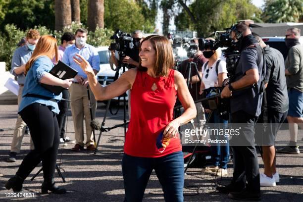 Republican U.S. Senate candidate Sen. Martha McSally waves to supporters at the AZGOP Headquarters on November 2, 2020 in Phoenix, Arizona. The...
