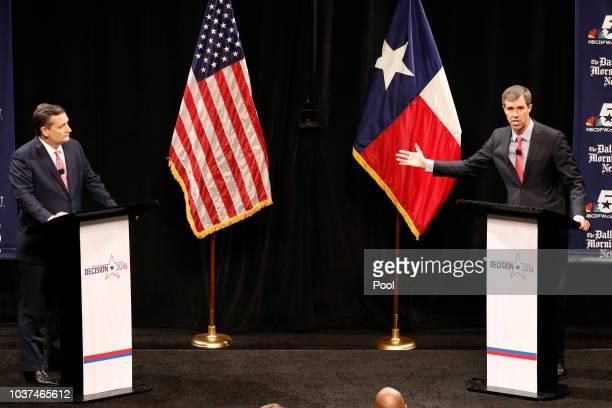 Republican US Senator Ted Cruz and Democratic US Representative Beto O'Rourke in their first debate for Texas US Senate in McFarlin Auditorium at SMU...