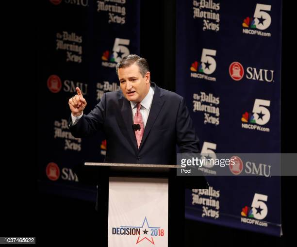 Sen Ted Cruz talks with his daughter Caroline Cruz after a debate with Rep Beto O'Rourke at McFarlin Auditorium at SMU on September 21 2018 in Dallas...