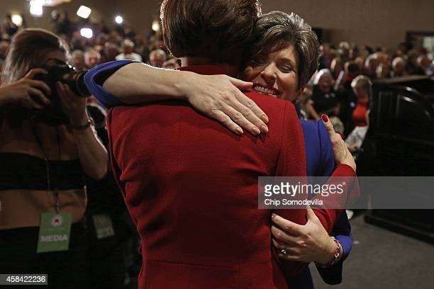 Republican US Senatorelect Joni Ernst embraces Lt Gov Kim Reynolds after Ernst won the US Senate race on election night at the Marriott Hotel...