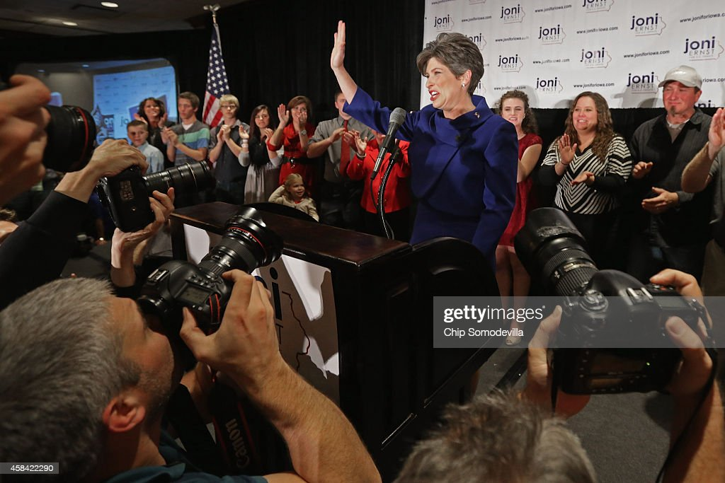 Republican U.S. Senator-elect Joni Ernst thanks her supporters after she won the U.S. Senate race on election night at the Marriott Hotel November 4, 2014 in West Des Moines, Iowa. Ernst and her opponent Democrat Rep. Bruce Braley (D-IA) were locked in a months-long campaign battle that had them tied in the polls going into election day.