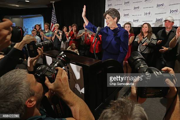 Republican U.S. Senator-elect Joni Ernst thanks her supporters after she won the U.S. Senate race on election night at the Marriott Hotel November 4,...