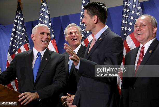 US Republican vice presidental candidate Gov Mike Pence joins House Majority Leader Kevin McCarthy Speaker of the House Paul Ryan and House Majority...