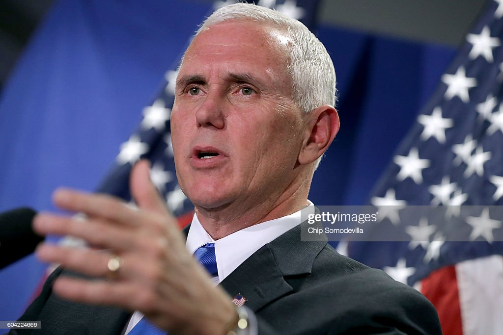 Republican Vice Presidential Nominee Gov. Mike Pence Attends House GOP Weekly Conference : News Photo