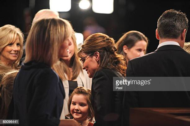 Republican vice presidential candidate Alaska Gov Sarah Palin greets family after the vice presidential debate with Democratic vice presidential...