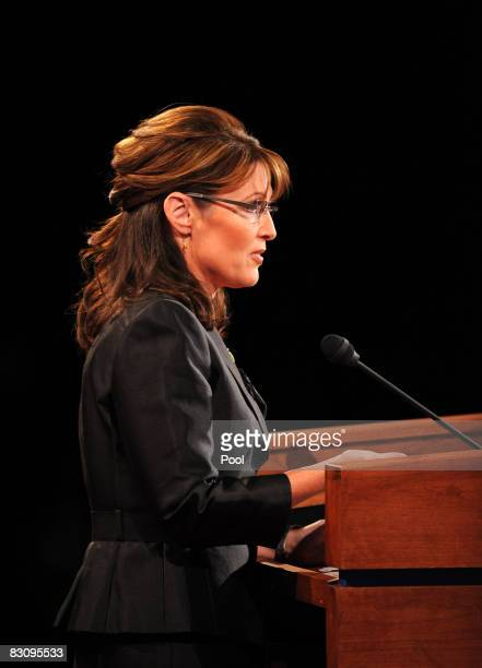 Republican vice presidential candidate Alaska Gov Sarah Palin speaks during the vice presidential debate with her Democratic opponent at the Field...