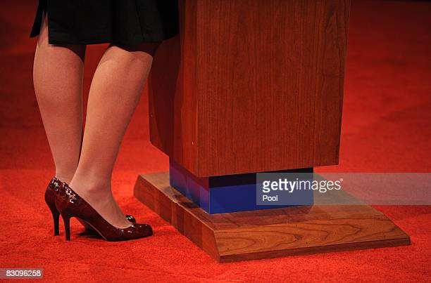 Republican vice presidential candidate Alaska Gov Sarah Palin stands during the vice presidential debate with Democratic vice presidential candidate...