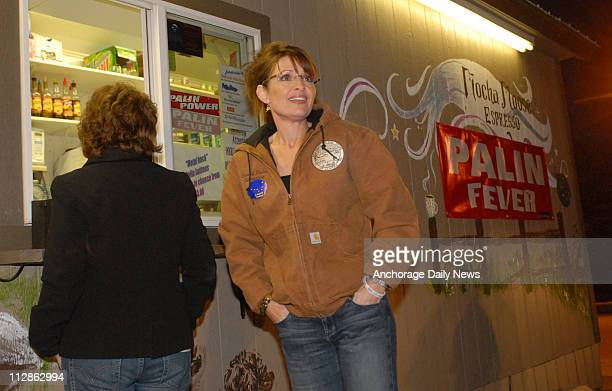 Republican Vice Presidential candidate Alaska Governor Sarah Palin grabs some coffee after voting in Wasilla on Election Day, November 4, 2008.