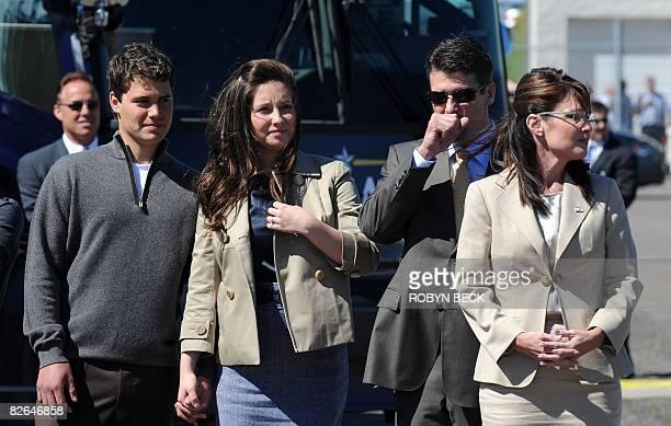Republican vice presidential candidate Alaska Governor Sarah Palin her husband Todd their daughter Bristol and Bristol's boyfriend Levi Johnston...