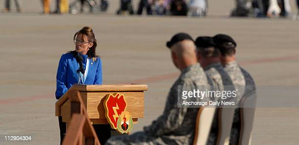 Republican vice presidential candidate Gov Sarah Palin spoke at a Stryker Brigade deployment ceremony at Fort Wainwright in Fairbanks Alaska on...