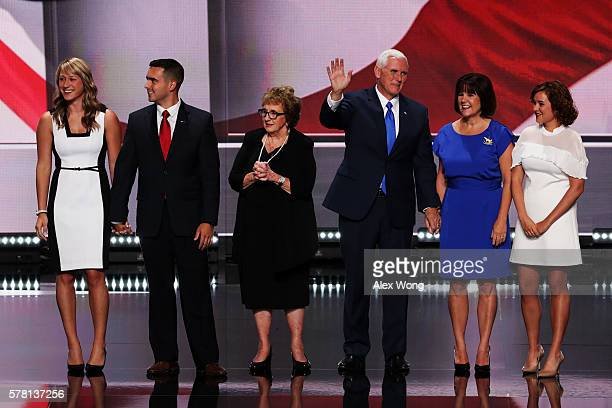 Republican vice presidential candidate Mike Pence along with his mother Nancy Pence Sarah Whiteside son Michael Pence Jr wife Karen Pence and...