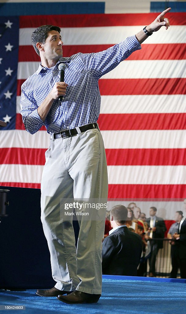 Romney's Vice Presidential Pick Paul Ryan Campaigns In Virginia : News Photo
