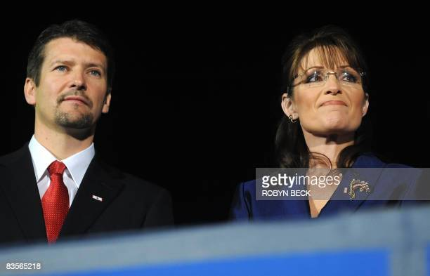 Republican vice presidential candidate Sarah Palin holds back her emotions as her running mate John McCain conceded defeat to Democrat Barack Obama...