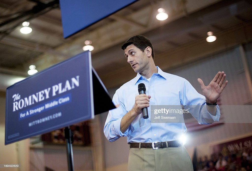Republican vice presidential candidate U.S. Rep. Paul Ryan (R-WI) speaks at a campaign event at Walsh University on August 16, 2012 in North Canton, Ohio. Ryan is campaigning in the battleground state of Ohio after being named as the vice presidential candidate last week by Republican presidential hopeful Mitt Romney.