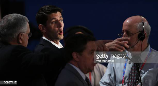 Republican vice presidential candidate US Rep Paul Ryan speaks during a soundcheck during the third day of the Republican National Convention at the...